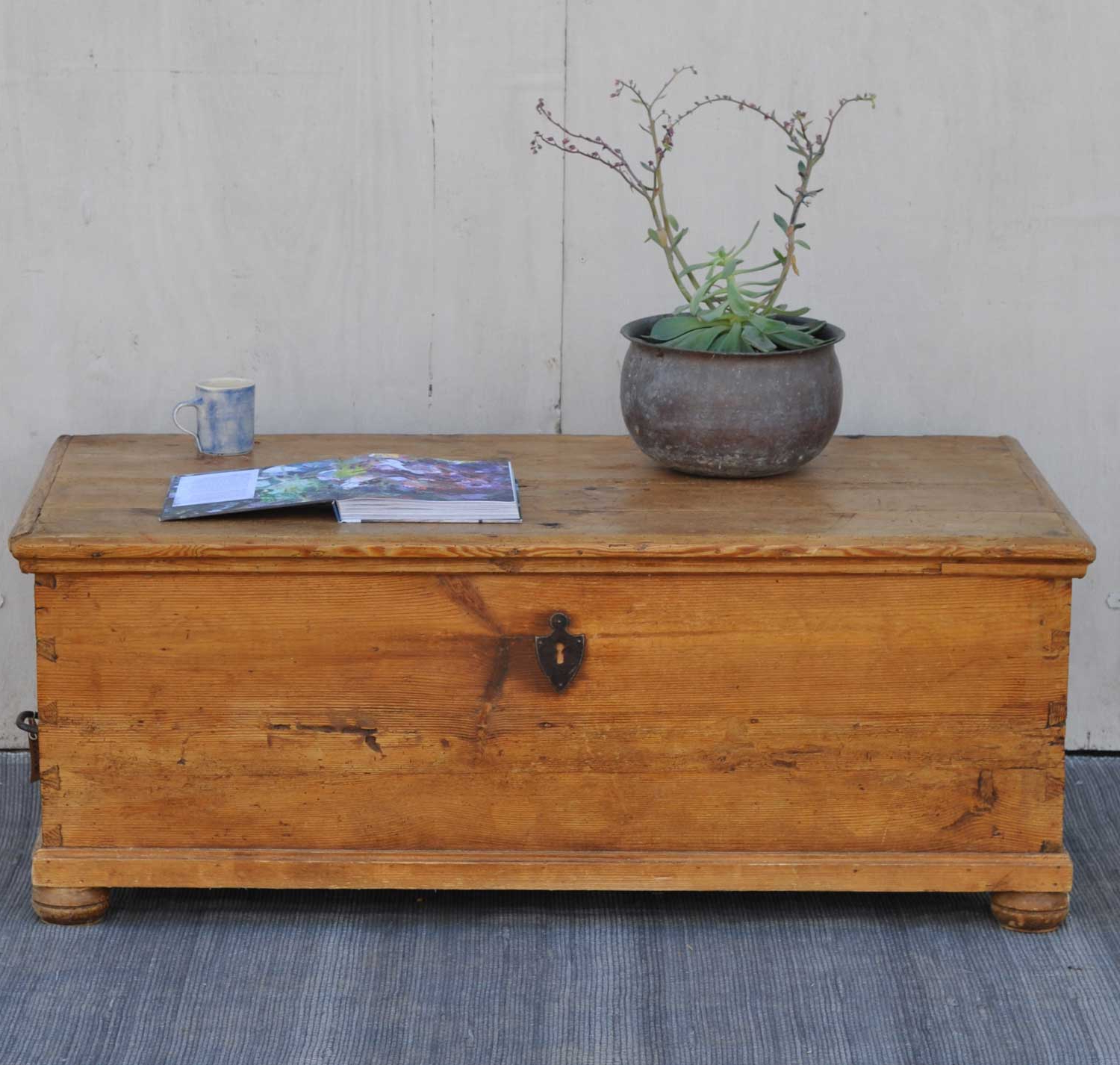 Antique Pine Coffee Tables For Current Antique Pine Blanket Box Linen Chest Coffee Table – Home Barn Vintage (Gallery 12 of 20)