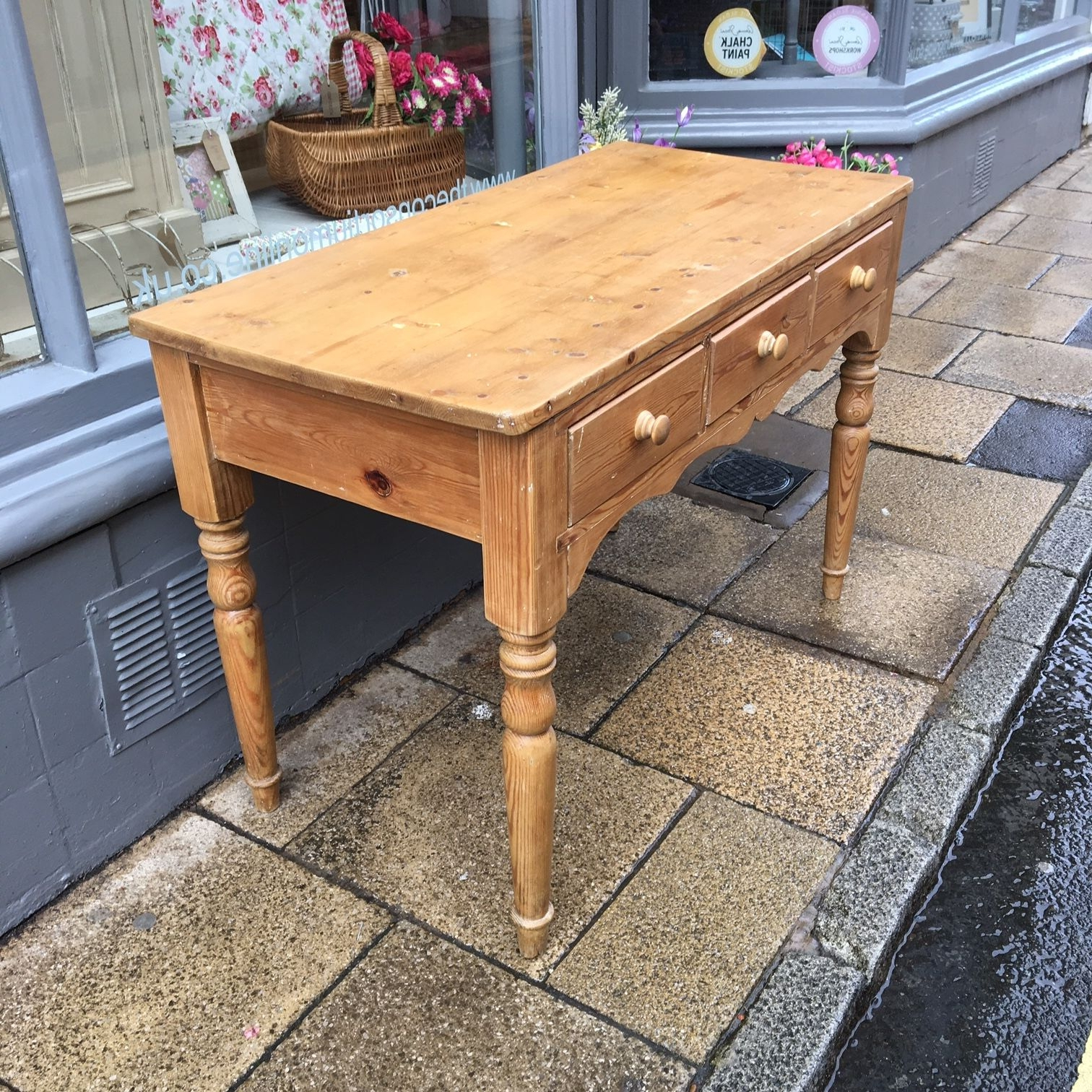 Antique Pine Coffee Tables Intended For Most Current Antique Pine Side Table – The Consortium, Vintage Furniture (View 4 of 20)