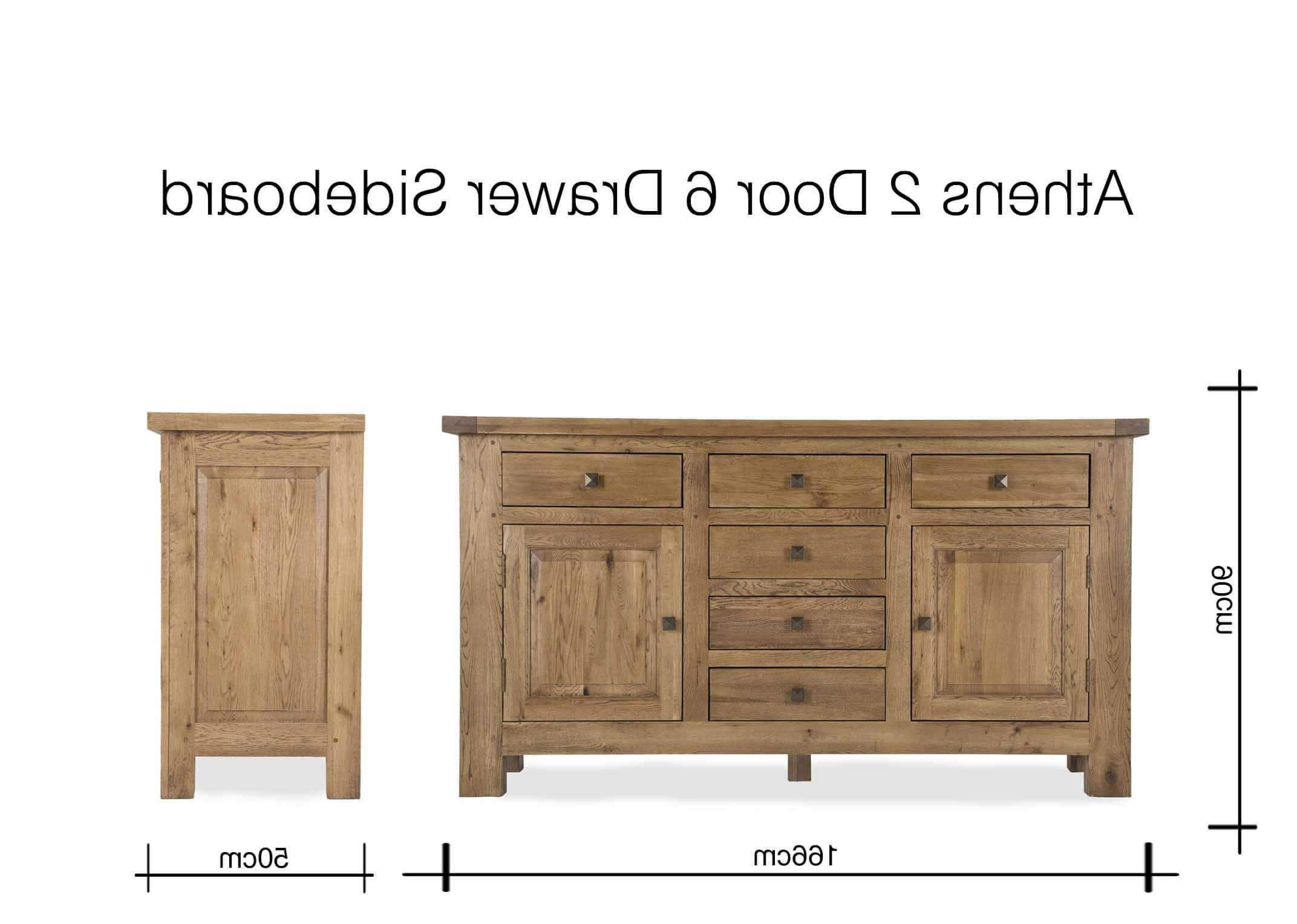 Antique Walnut Finish 2 Door/4 Drawer Sideboards Regarding Preferred Two Door Six Drawer Oak Sideboard – Athens – Ez Living Furniture (View 2 of 20)