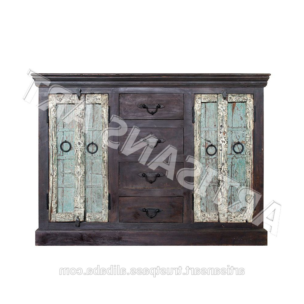 Antique Wooden Sideboard , Antique Reproduction Furniture, Recycled Inside Trendy Corrugated White Wash Sideboards (View 2 of 20)