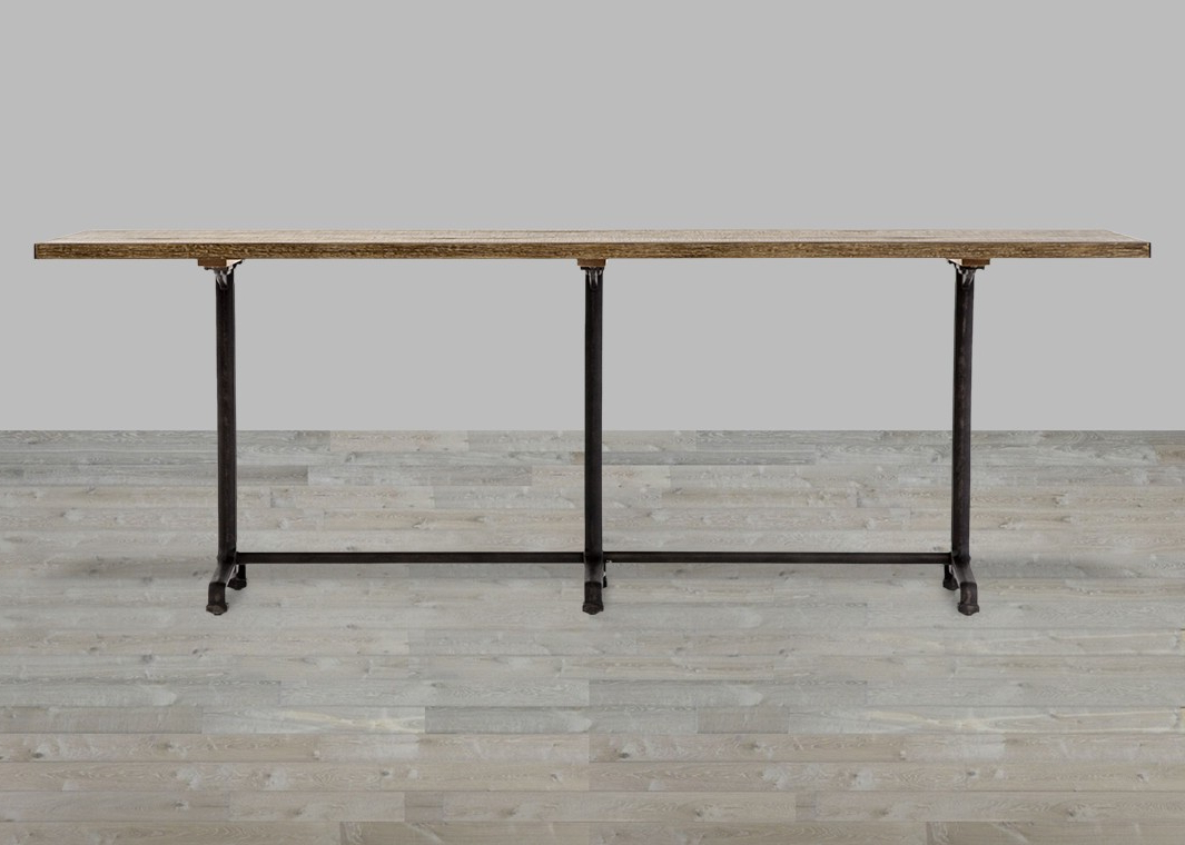 Antiqued Iron/rustic Black Reclaimed Burnt Oak Dining Table – Silver Pertaining To Latest Burnt Oak Bleached Pine Sideboards (Gallery 6 of 20)