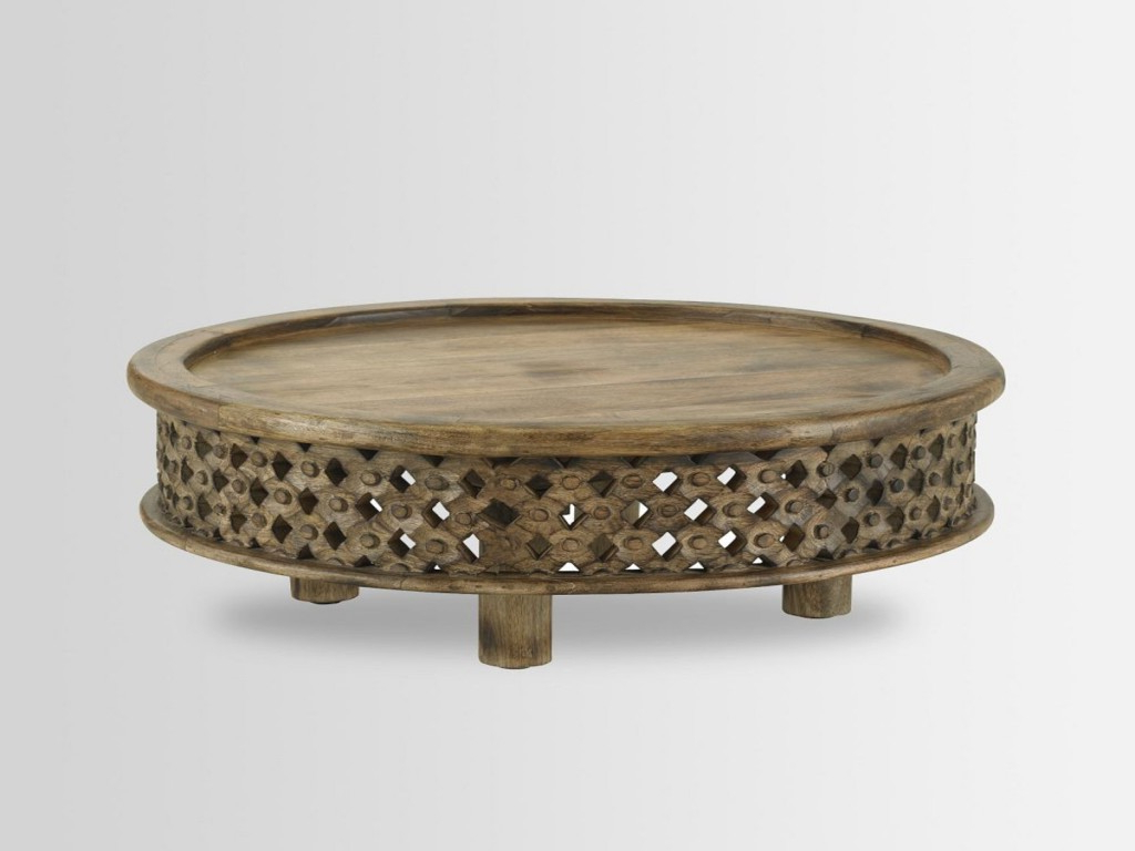 Antiquevintage Hard Wood Solid Hand Made Carved Round Intended For Most Up To Date Round Carved Wood Coffee Tables (View 5 of 20)