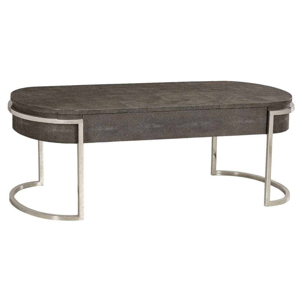 Ashburn Cocktail Tables For Most Recent Ashburn Charcoal Shagreen Oval Nickel Coffee Table (View 15 of 20)