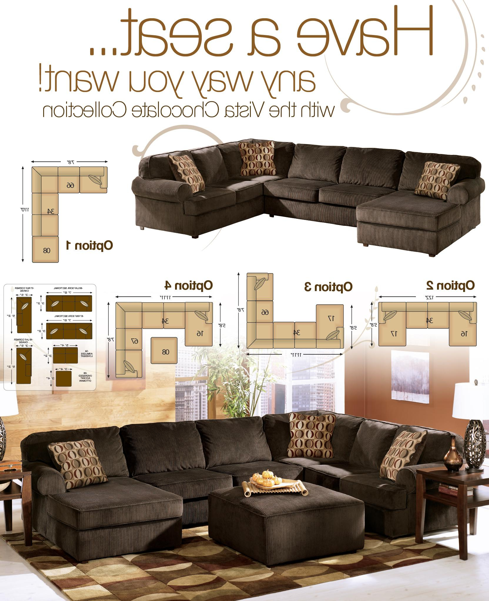 Ashley Furniture Vista Chocolate Piece Sectional With Right In Fashionable Sierra Down 3 Piece Sectionals With Laf Chaise (View 5 of 20)