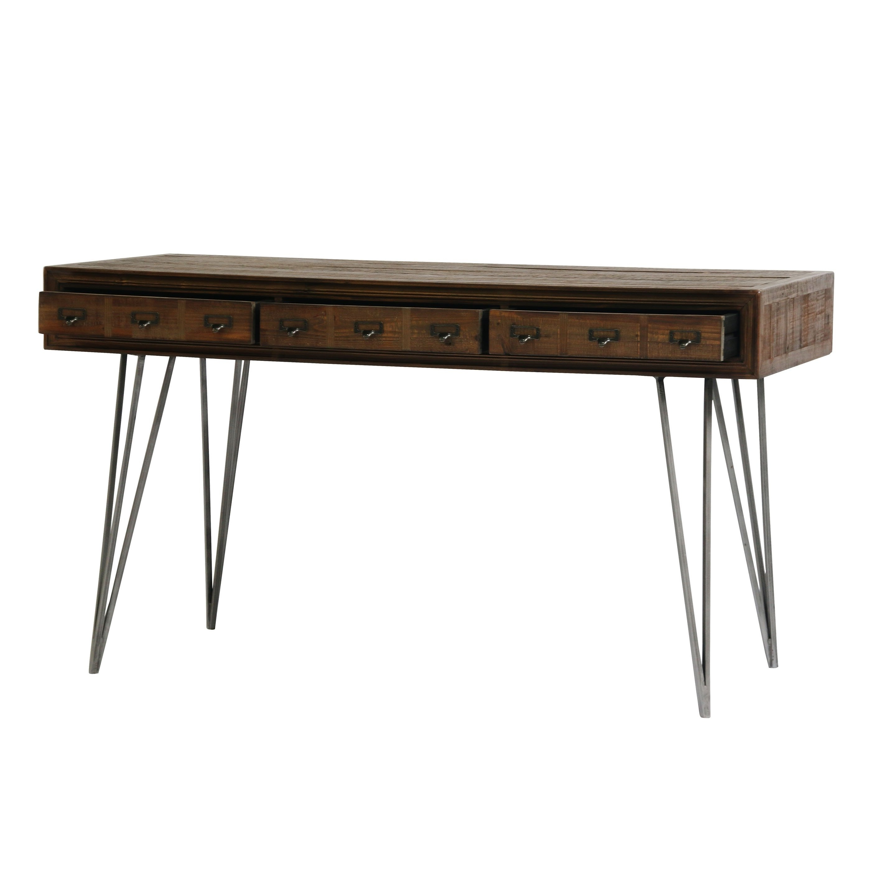 Aurelle Home Javadi Dark Brown Wood Desk – Free Shipping Today For Well Liked Light Brown Reclaimed Elm & Pine 84 Inch Sideboards (View 3 of 20)
