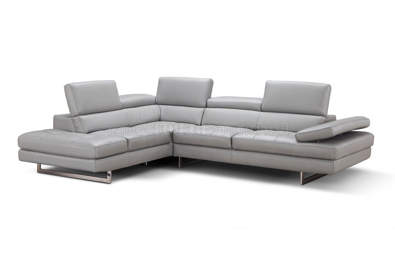 Aurora Sectional Sofa In Light Grey Premium Leatherj&m Intended For Most Current Aurora 2 Piece Sectionals (View 14 of 20)