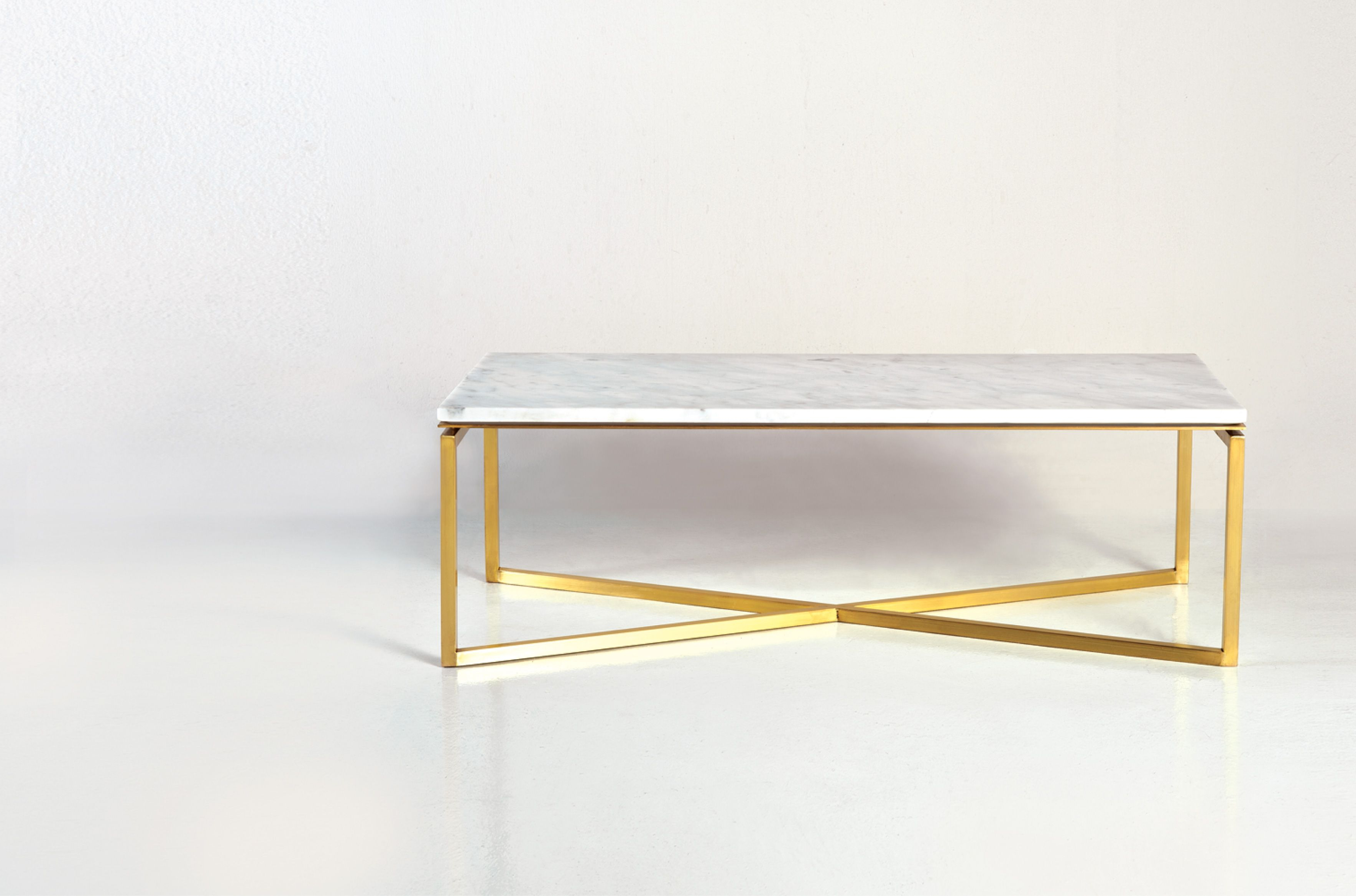 Baguette, Coffee Table. Brass Leg In Gold Finish And White Carrara Regarding Newest Rectangular Coffee Tables With Brass Legs (Gallery 2 of 20)