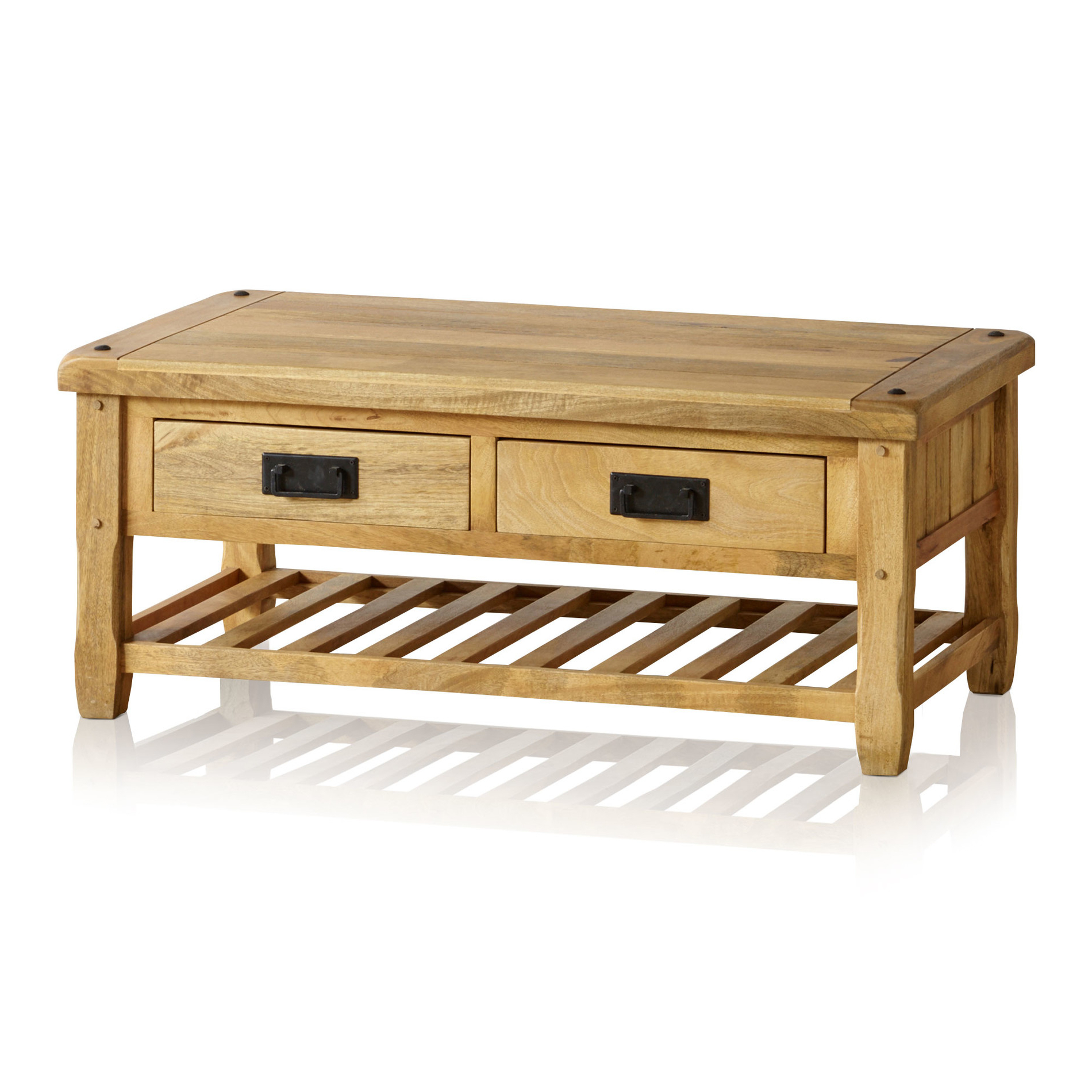 Baku Light Coffee Table With 4 Drawers In Natural Solid Mango Regarding Well Known Natural 2 Drawer Shutter Coffee Tables (View 7 of 20)