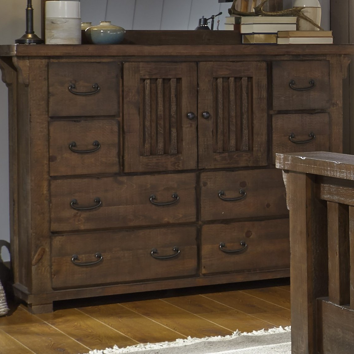 Bale Rustic Grey Sideboards Intended For Most Recent Loon Peak Buckleys 8 Drawer Combo Dresser With Mirror & Reviews (View 3 of 20)