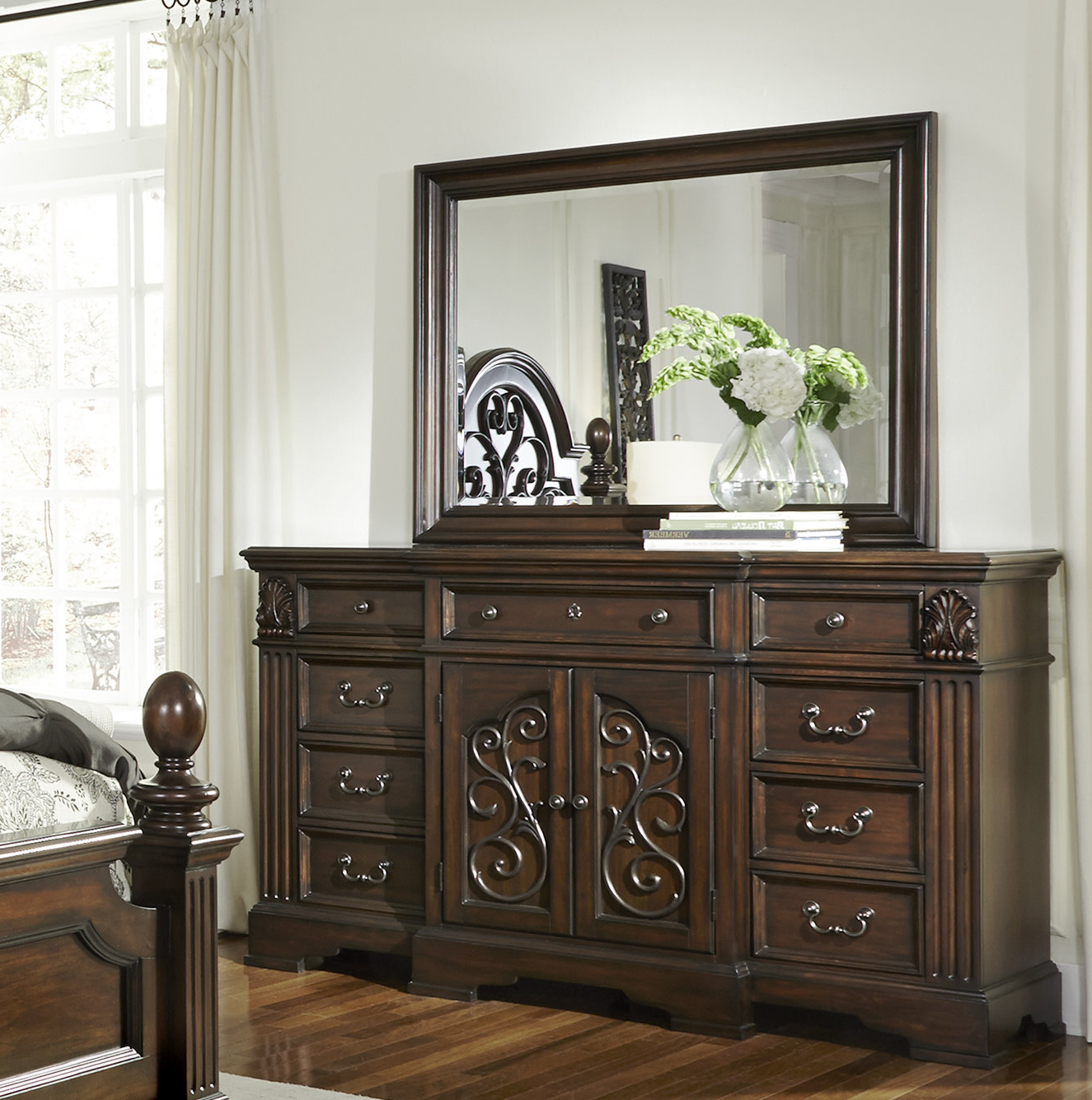 Bale Rustic Grey Sideboards Throughout Most Recently Released Fleur De Lis Living Corene 9 Drawer Combo Dresser With Mirror (View 7 of 20)