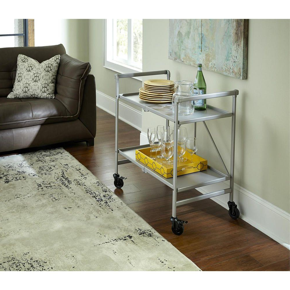 Bar Carts – Kitchen & Dining Room Furniture – The Home Depot Pertaining To Most Up To Date Go Cart White Rolling Coffee Tables (View 7 of 20)