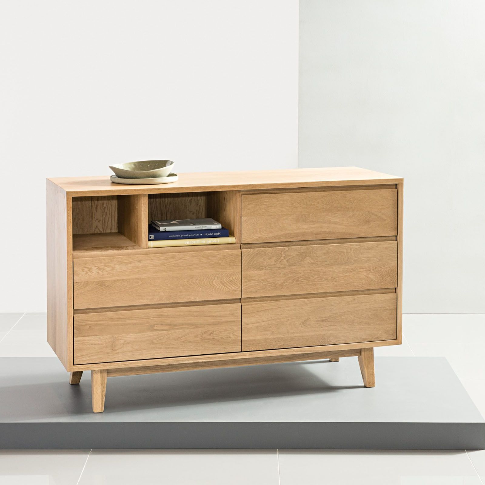 Bastian 5 Drawer Chest – Solid Oak – 120X45X76Cm – Icondesign Throughout 2018 Tobias 4 Door Sideboards (View 2 of 20)