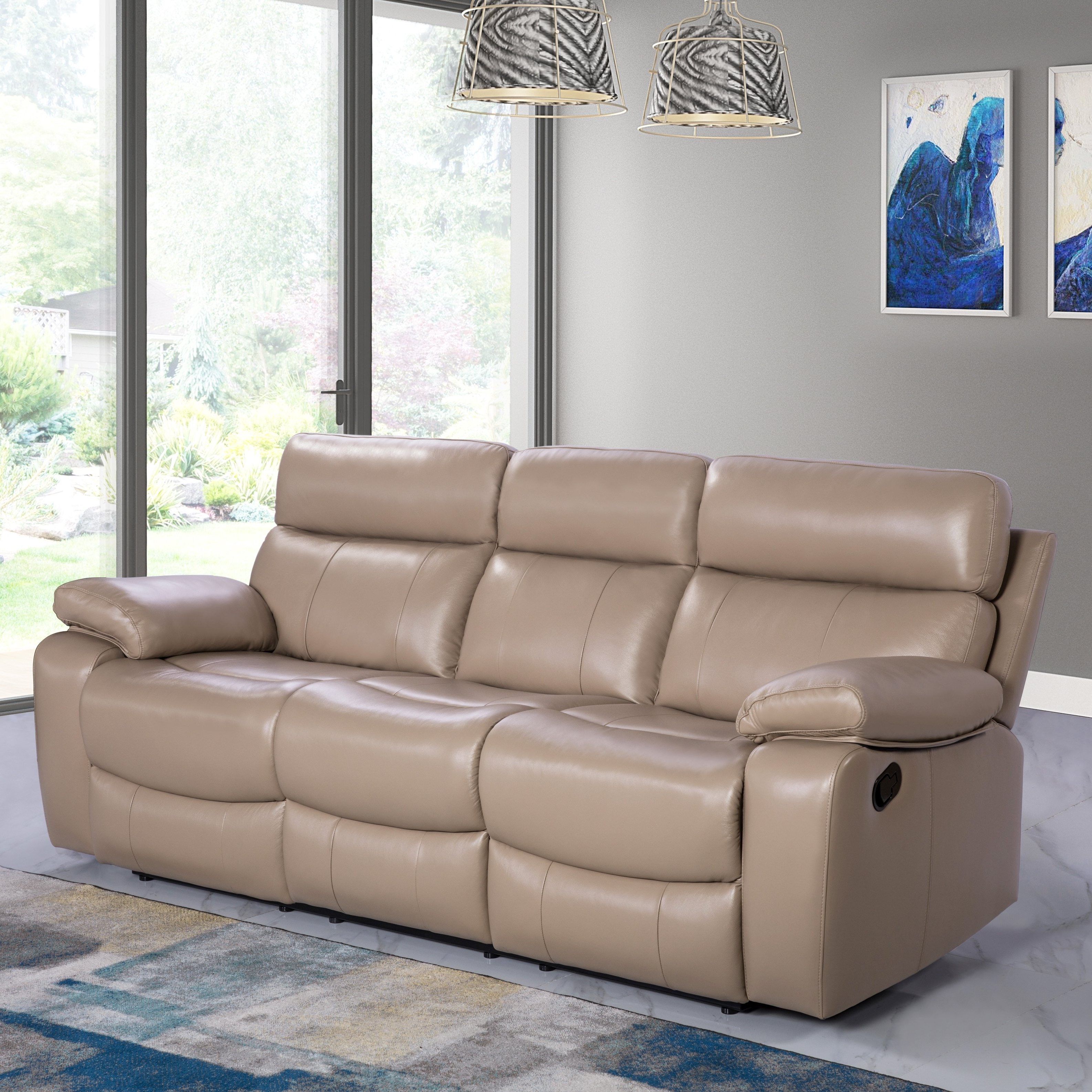 Beige Leather Reclining Sofa (View 4 of 20)