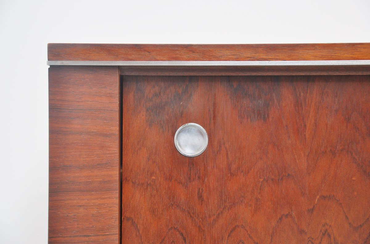 Belgian Long Sideboard In Rosewood With Metal Details 1960 Throughout Well Known Metal Refinement 4 Door Sideboards (Gallery 15 of 20)