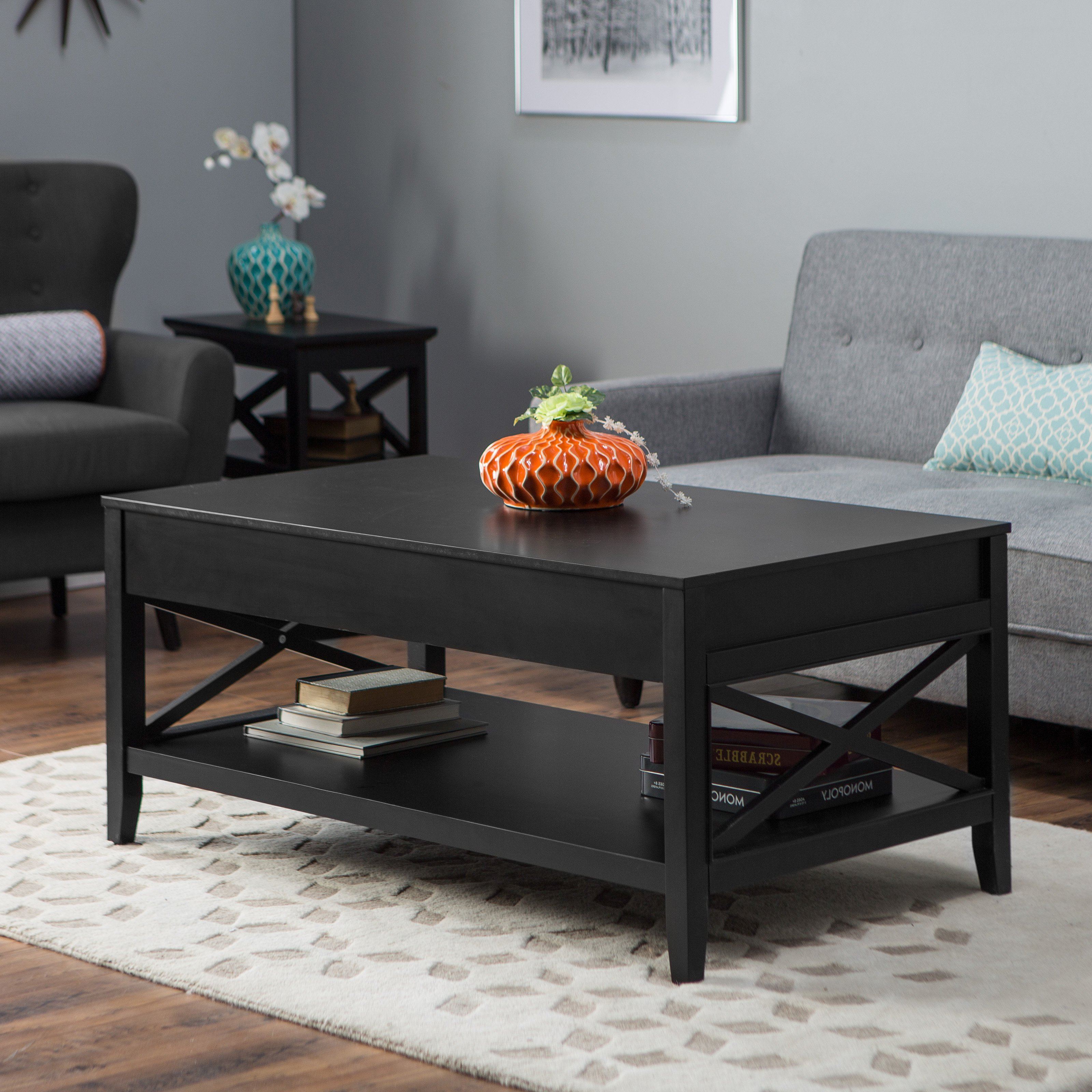 Belham Living Hampton Lift Top Coffee Table Black Master Side With Well Known Lassen Square Lift Top Cocktail Tables (View 11 of 20)