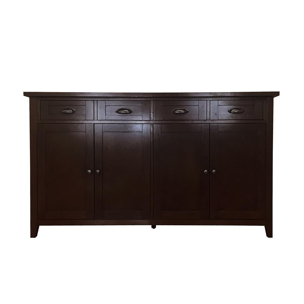 Best And Newest Donnieann Brookdale Dark Walnut Buffet/sideboard With 4 Drawers And With Walnut Finish 4 Door Sideboards (Gallery 1 of 20)