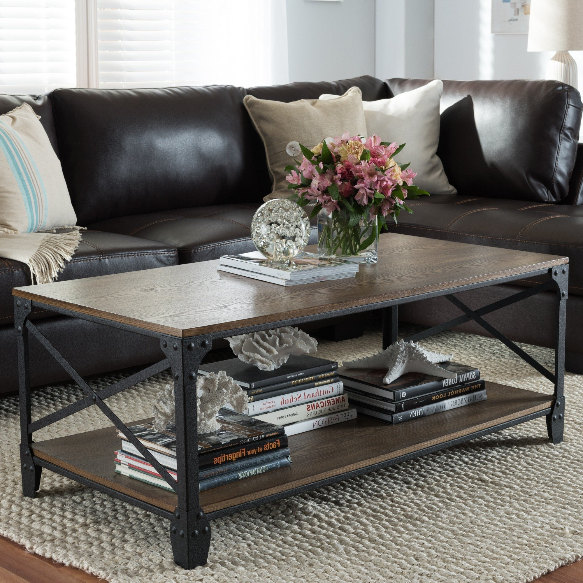 Best And Newest Large Scale Chinese Farmhouse Coffee Tables With Regard To Shop Baxton Studio Greyson Industrial Bronze Coffee Table – Free (View 18 of 20)