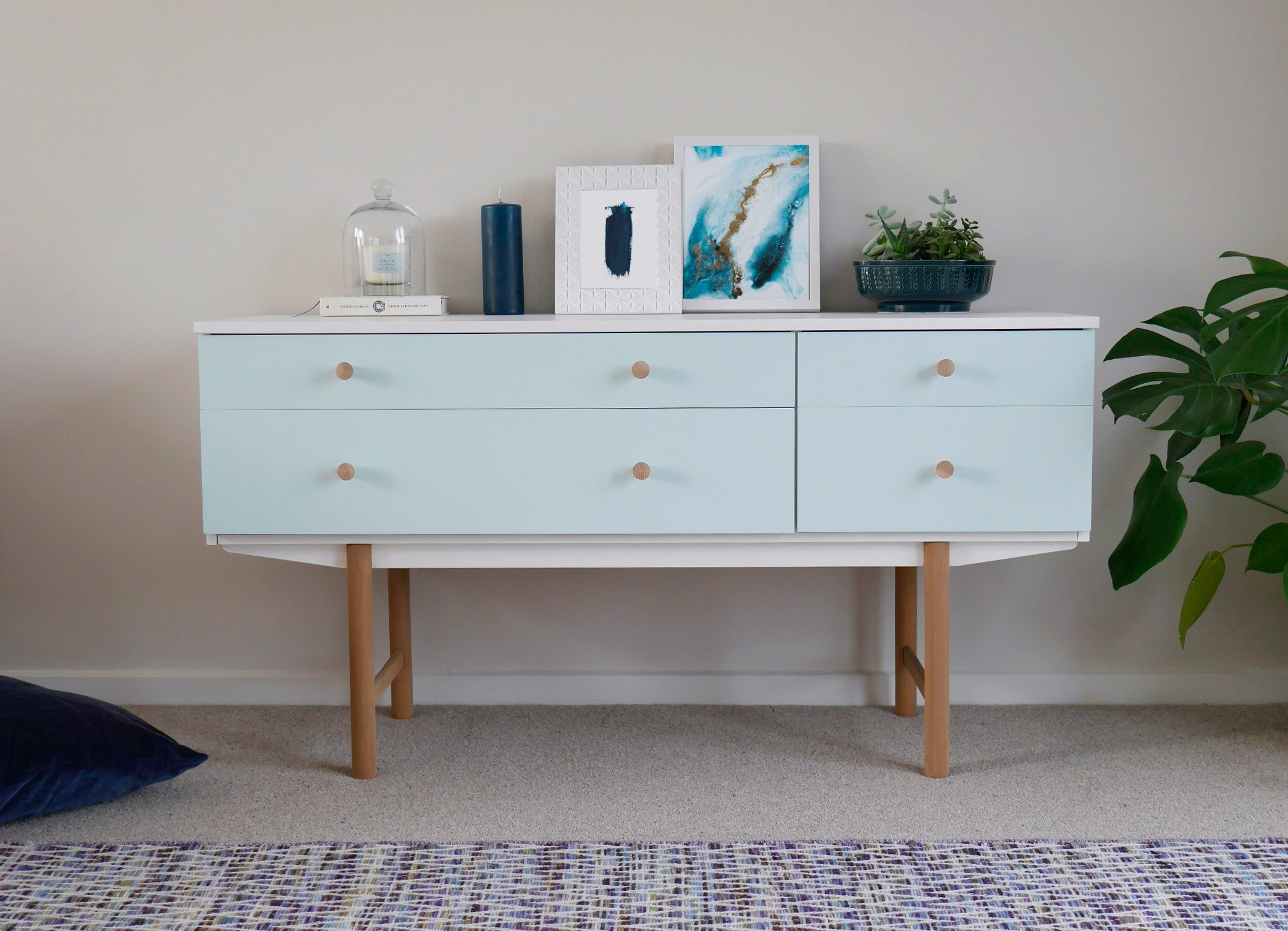 Best And Newest Mid Century Modern Sideboard Drawers Painted White & Duck Egg Blue Pertaining To Mid Century Modern Egg Tables (View 4 of 20)