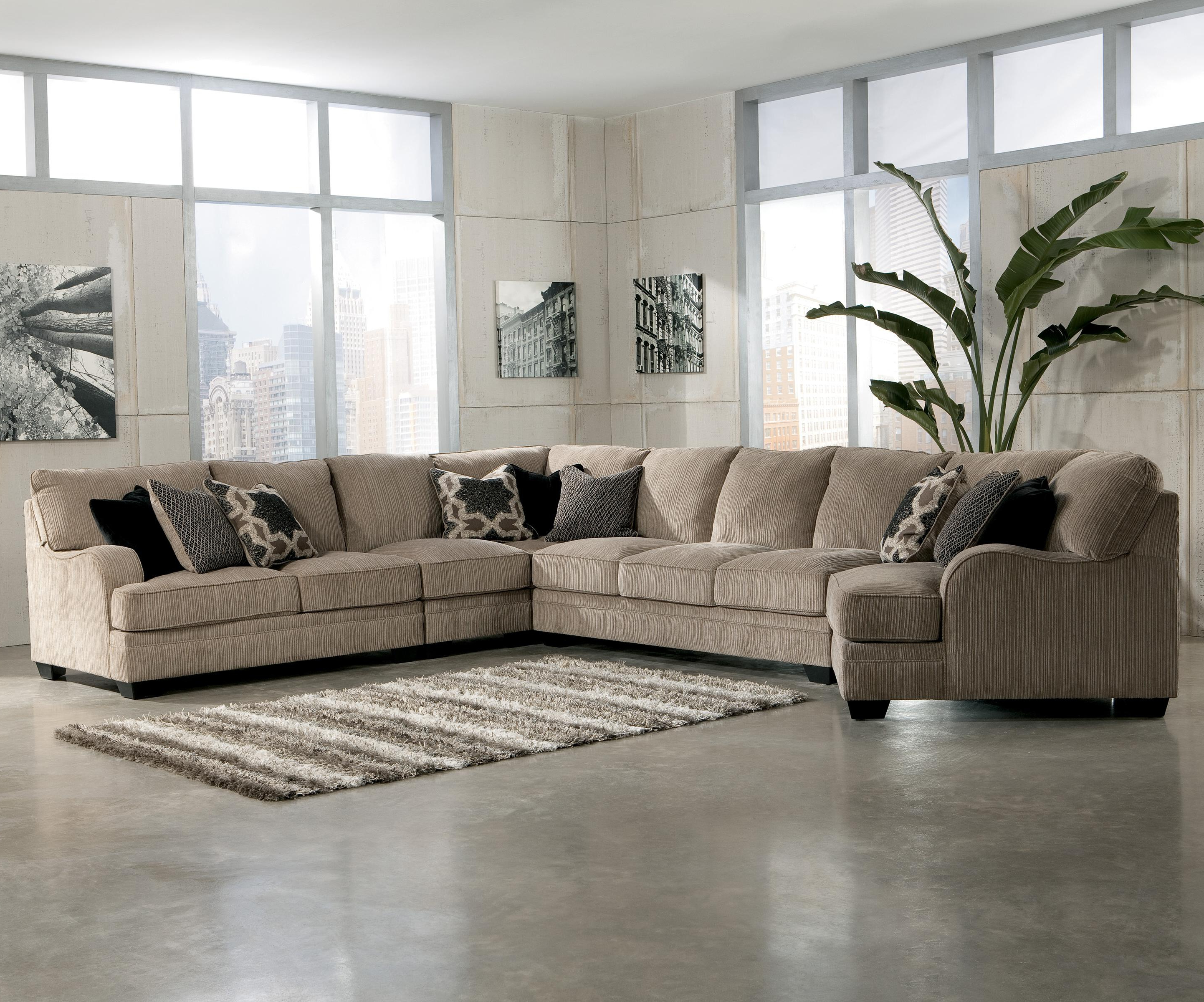 Best And Newest Signature Designashley Katisha – Platinum 5 Piece Sectional Sofa With Regard To Norfolk Grey 3 Piece Sectionals With Laf Chaise (View 4 of 20)