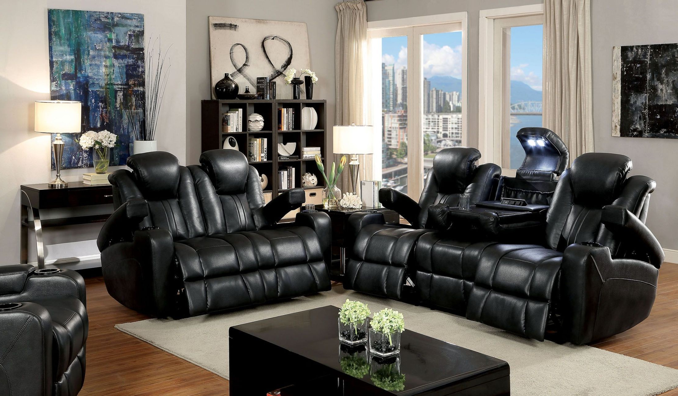 Best And Newest Zaurak Dark Gray Reclining Living Room Set From Furniture Of America Inside Marcus Chocolate 6 Piece Sectionals With Power Headrest And Usb (View 20 of 20)