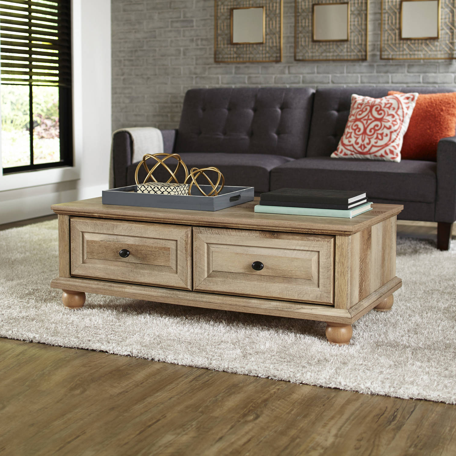 Better Homes & Gardens Crossmill Coffee Table, Weathered Finish With Regard To Most Recently Released Mill Large Coffee Tables (View 2 of 20)