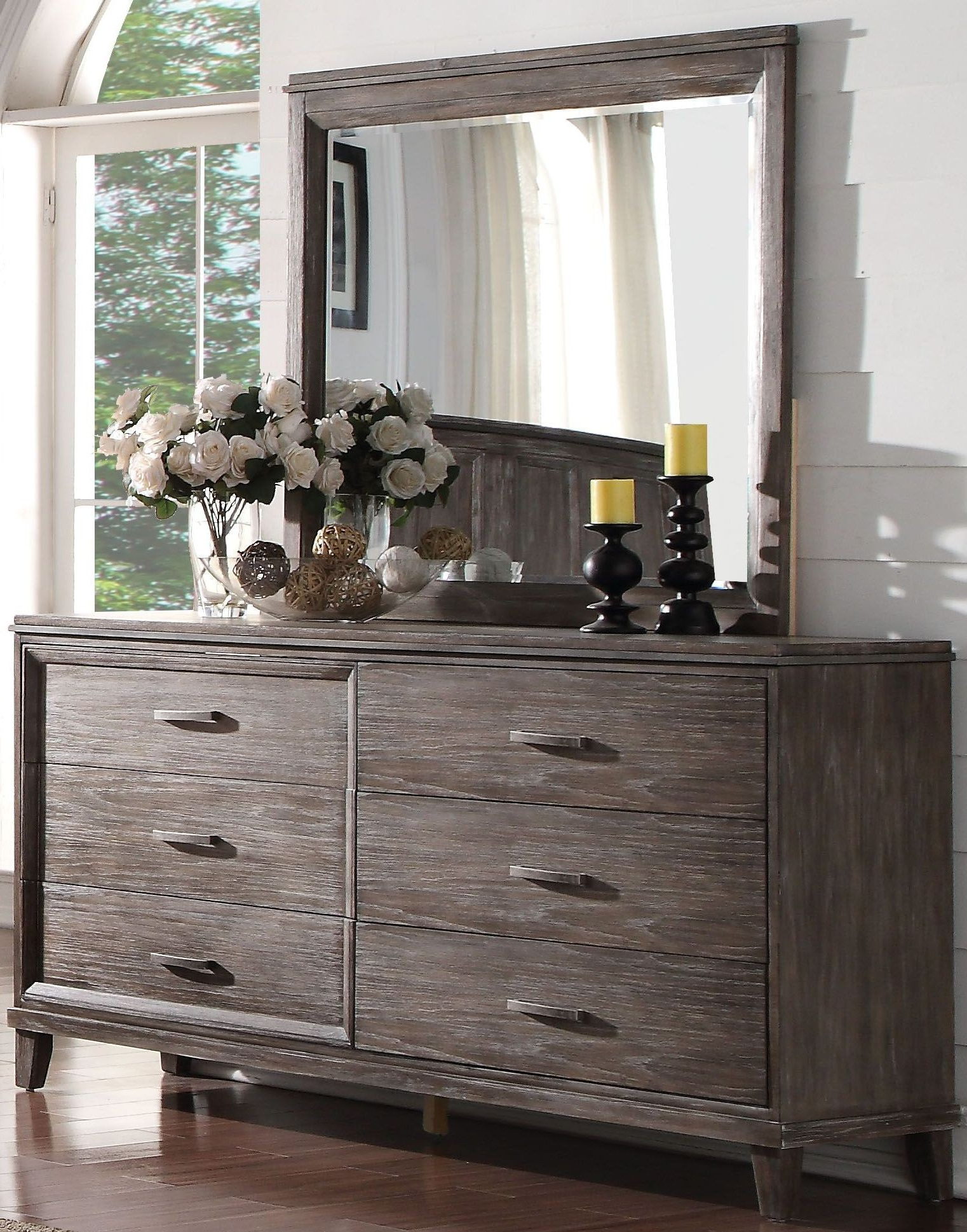 Black Burnt Oak Sideboards Inside Current Acme Bayonne Burnt Oak Panel Bedroom Set – Bayonne Collection:  (View 1 of 20)