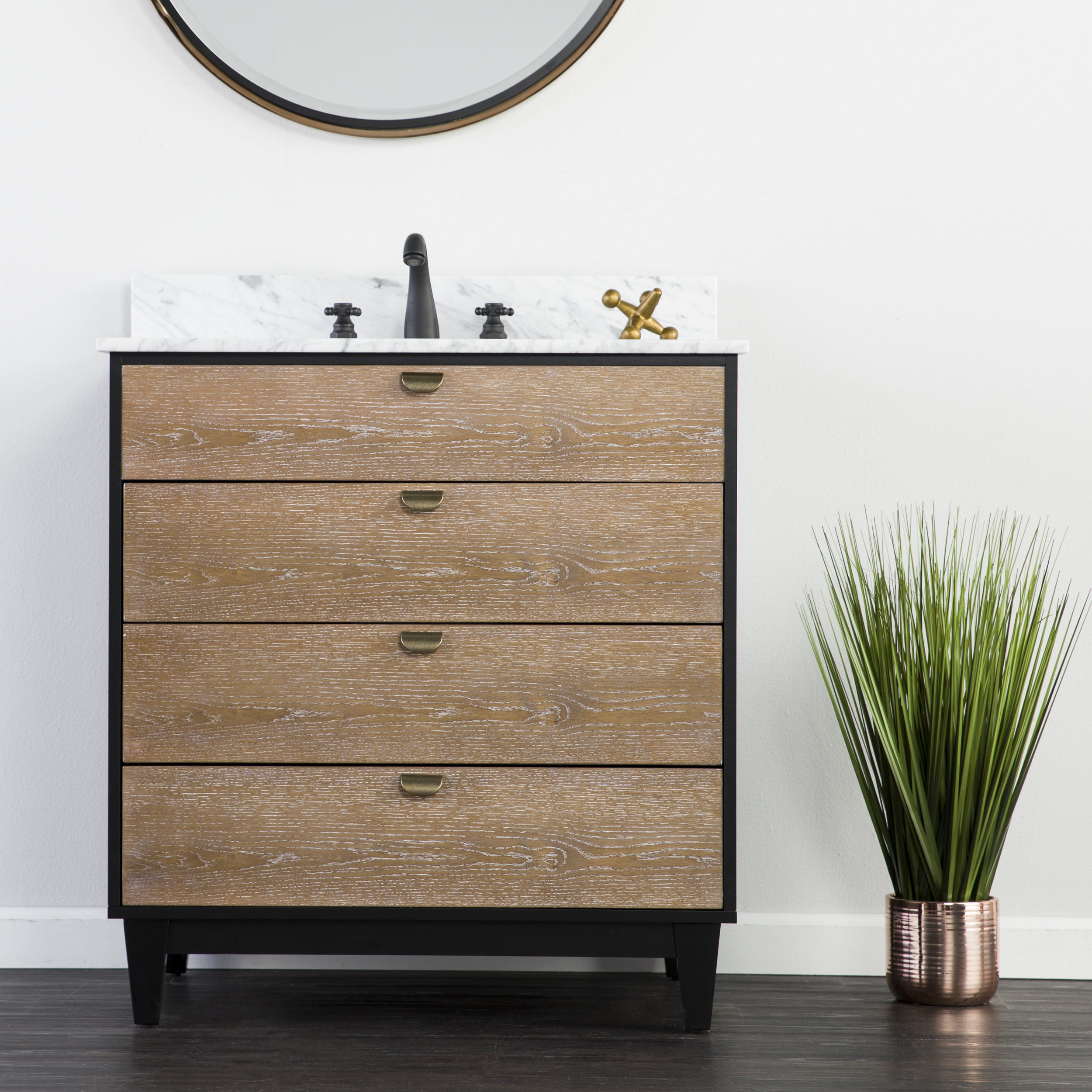 Black Burnt Oak Sideboards Intended For Preferred Union Rustic Holly & Martin Tobin Bath Vanity Sink W/ Marble Top (View 2 of 20)