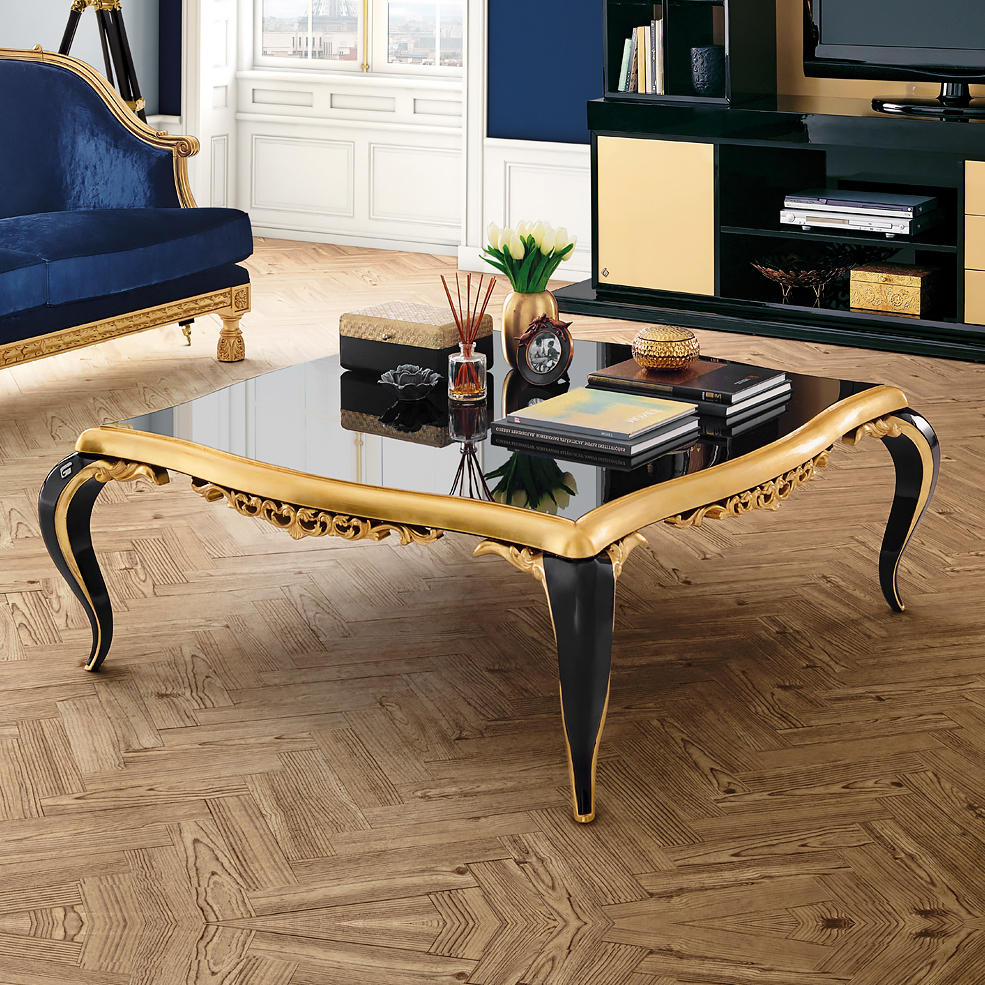 Black Lacquered Gold Leaf Coffee Table (View 1 of 20)