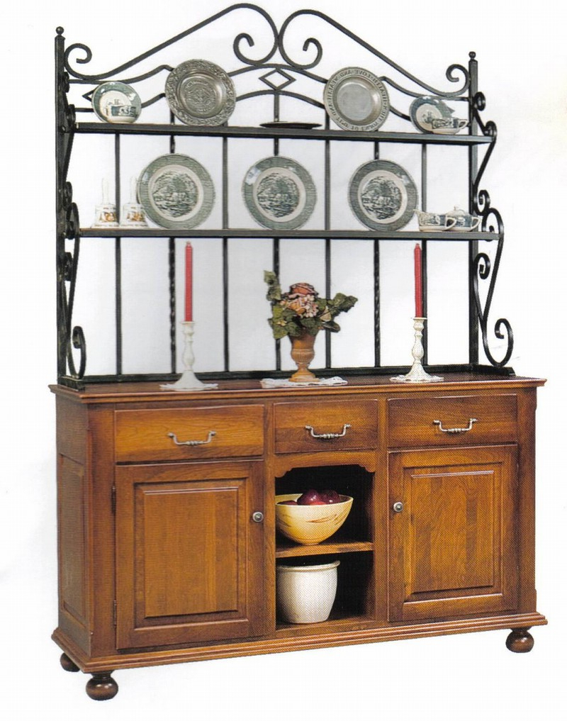 Black Oak Wood And Wrought Iron Sideboards Inside Widely Used Amish Heirloom Sideboard Bakers Rack Furniture With 2 Tiers Cast (View 4 of 20)