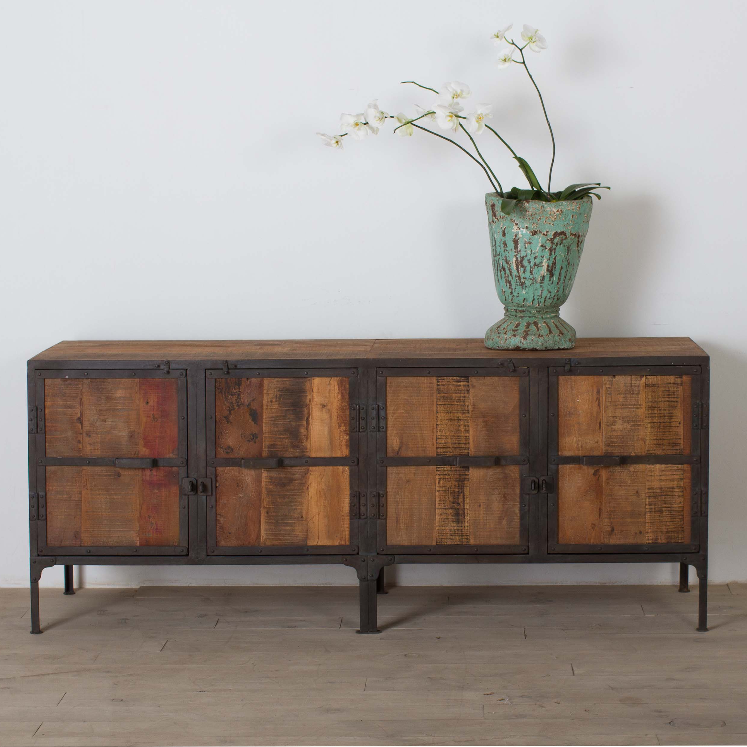 Black Oak Wood And Wrought Iron Sideboards Within Most Up To Date Shop Handmade Cg Sparks Handmade Hyderabad Reclaimed Wood And Metal (View 13 of 20)