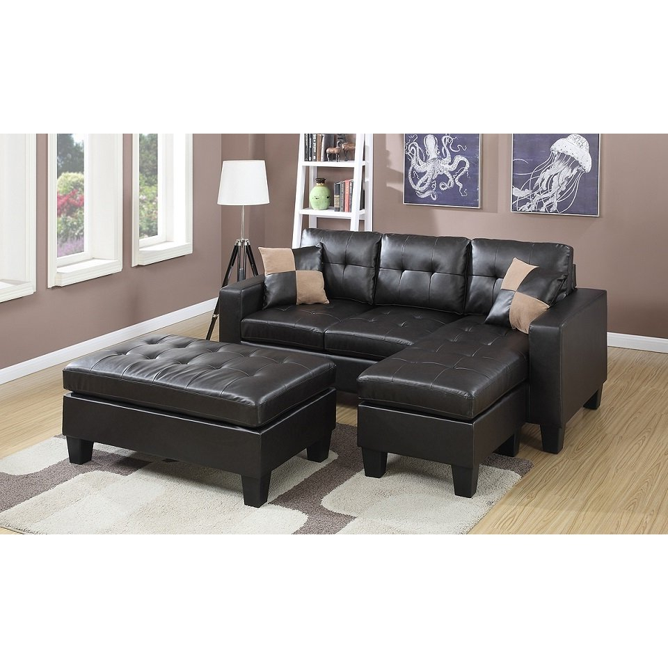 Blaine 3 Piece Sectionals Pertaining To 2019 Shop Espresso Bonded Leather Piacenza Sectional Sofa With Ottoman (View 16 of 20)