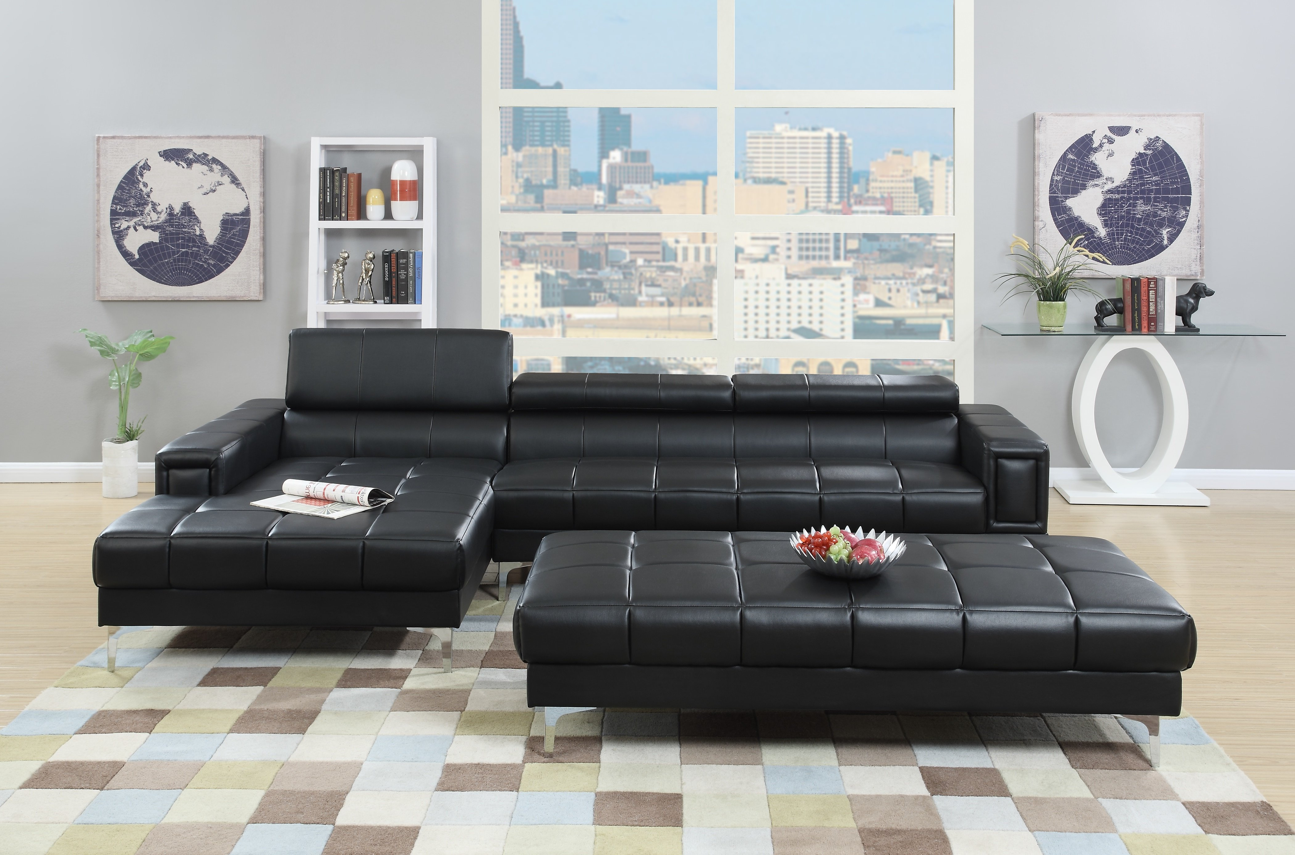 Blaine 4 Piece Sectionals Regarding Well Liked A&j Homes Studio Celine Genuine Leather Sectional & Reviews (View 8 of 20)