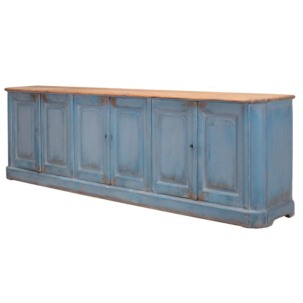 Bleu Ciel French Country Pine 6 Door Sideboard (Gallery 10 of 20)