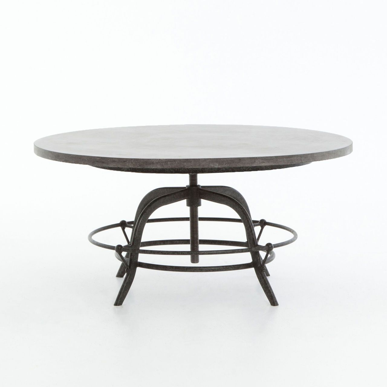 Bluestone Rustic Black Coffee Tables Throughout Widely Used French Industrial Bluestone Top Round Crank Coffee Table (View 5 of 20)