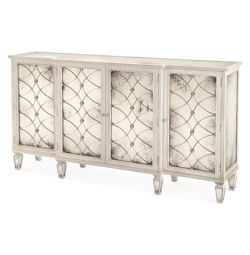 Bonet Hollywood Regency Grillwork Antique White Mirrored Sideboard With Regard To 2019 Geo Capiz Sideboards (Gallery 9 of 20)