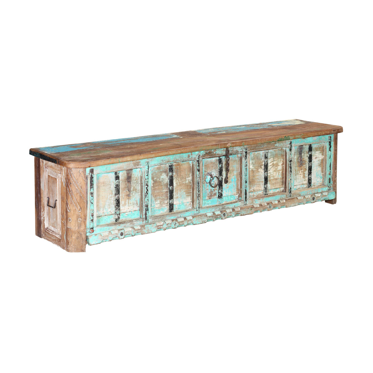 Boyce Sideboards With Regard To Well Known Boyce Rustic Turquoise Reclaimed Wood Large Storage Coffee Table Chest (View 5 of 20)