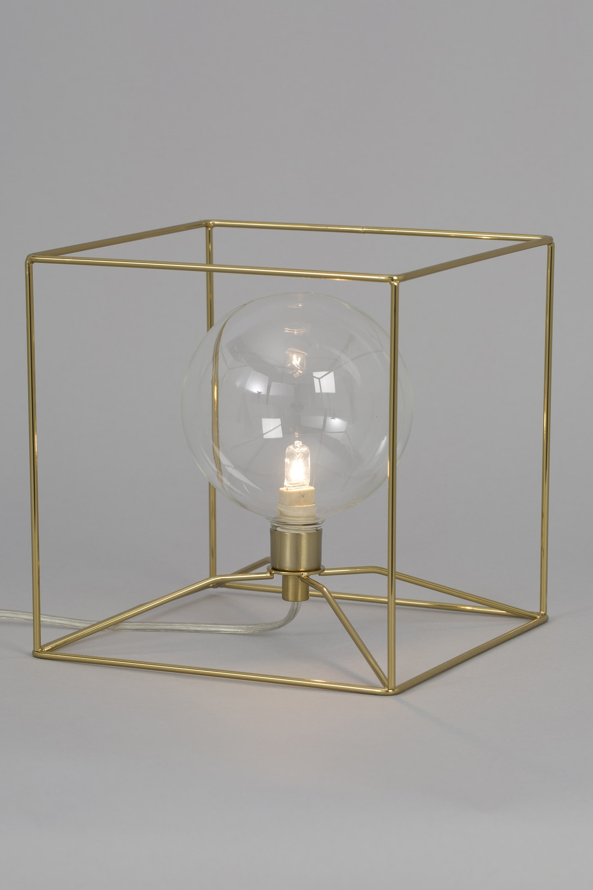 Brass Iron Cube Tables For Famous Geometric Cube Brass Wire Table Lamp (View 3 of 20)
