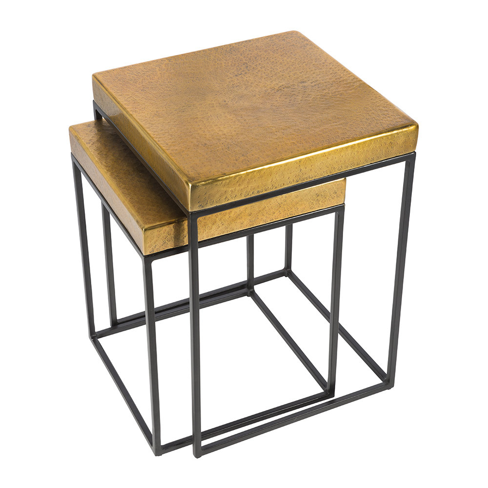 Brass Iron Cube Tables Regarding Favorite Buy Aamara Cube Side Tables – Set Of 2 – Antique Brass (View 4 of 20)