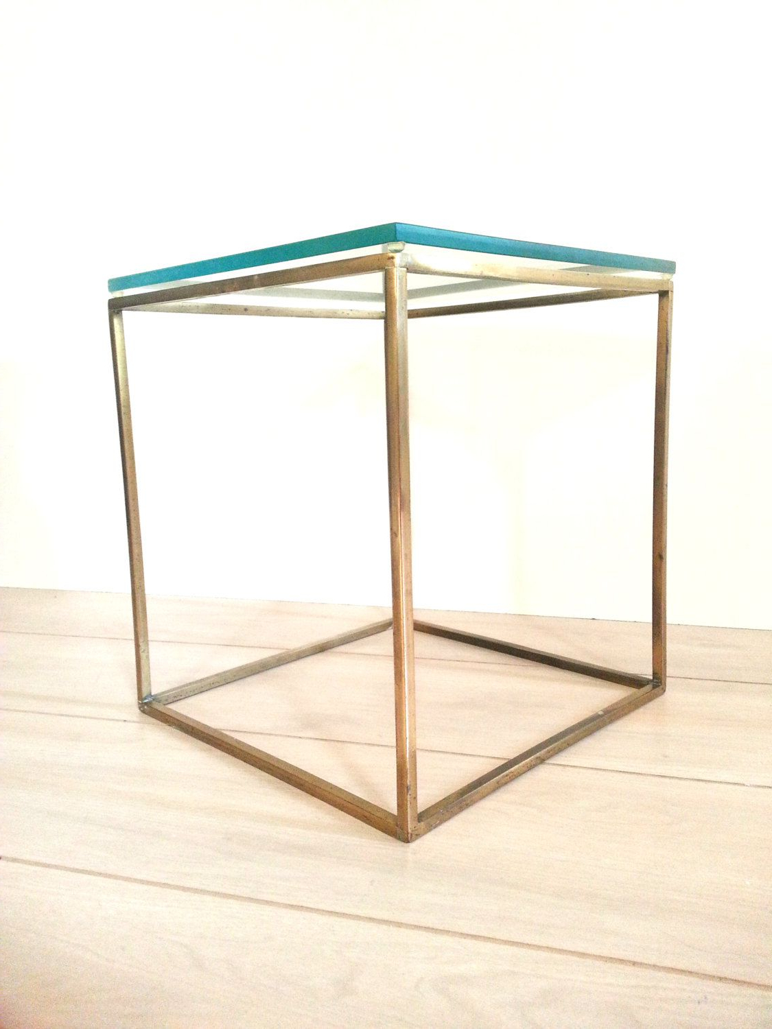 Brass Iron Cube Tables Within Most Up To Date Mid Century Brass / Glass Cube Table ~ Side Table ~ End Table ~Plant (View 5 of 20)