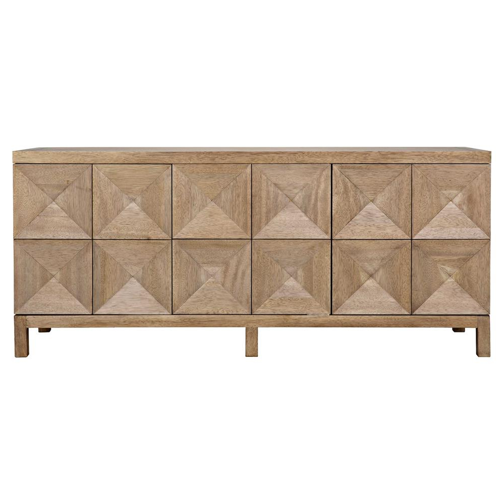 Brenton Modern Classic Washed Walnut Diamond 3 Door Sideboard Intended For Favorite Jaxon Sideboards (View 6 of 20)