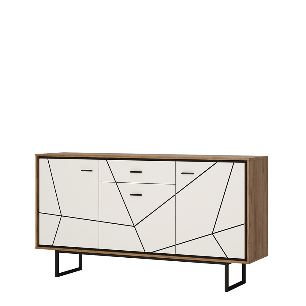 Brolo 3 Door 1 Drawer Sideboard With The Walnut And Dark Panel Finish In 2018 Walnut Finish 2 Door/3 Drawer Sideboards (Gallery 17 of 20)