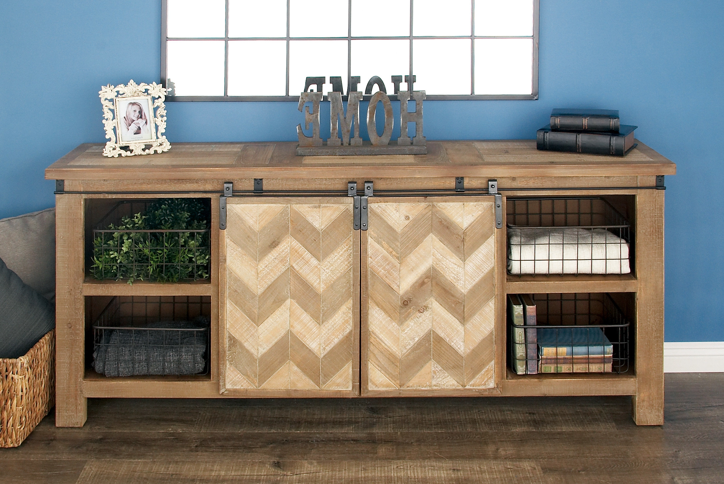 Brown Chevron 4 Door Sideboards Within 2019 Cole & Grey Credenza (Gallery 16 of 20)