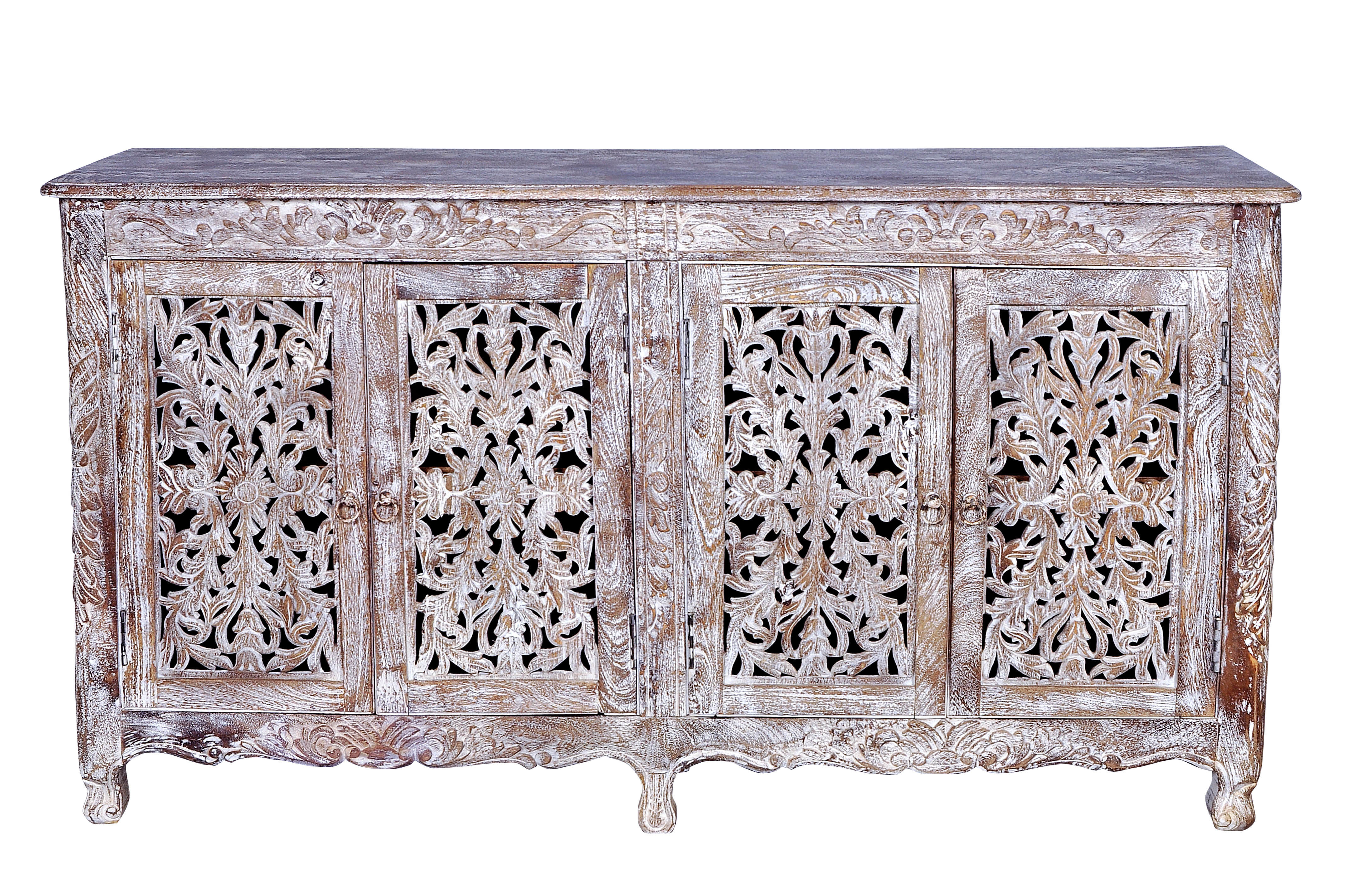 Bungalow Rose Aveliss Carved 4 Door Antique Whitewash Sideboard For Most Up To Date White Wash 2 Door Sideboards (View 15 of 20)