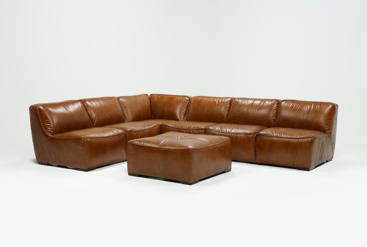 Burton Leather 3 Piece Sectional W/ottoman (Gallery 2 of 20)