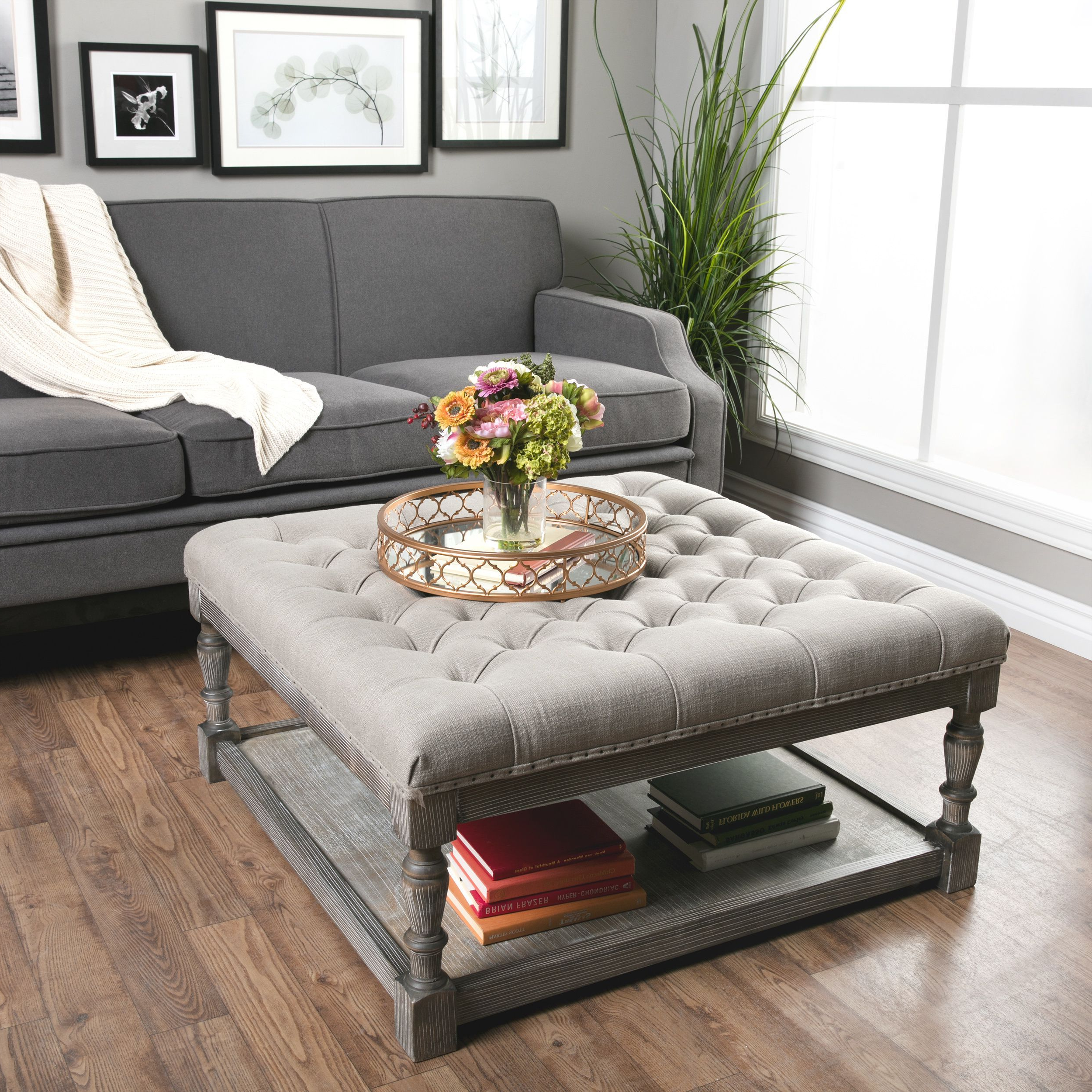 Button Tufted Coffee Tables Intended For Favorite This Beautiful Creston Square Ottoman Features Comfortable, Durable (Gallery 3 of 20)