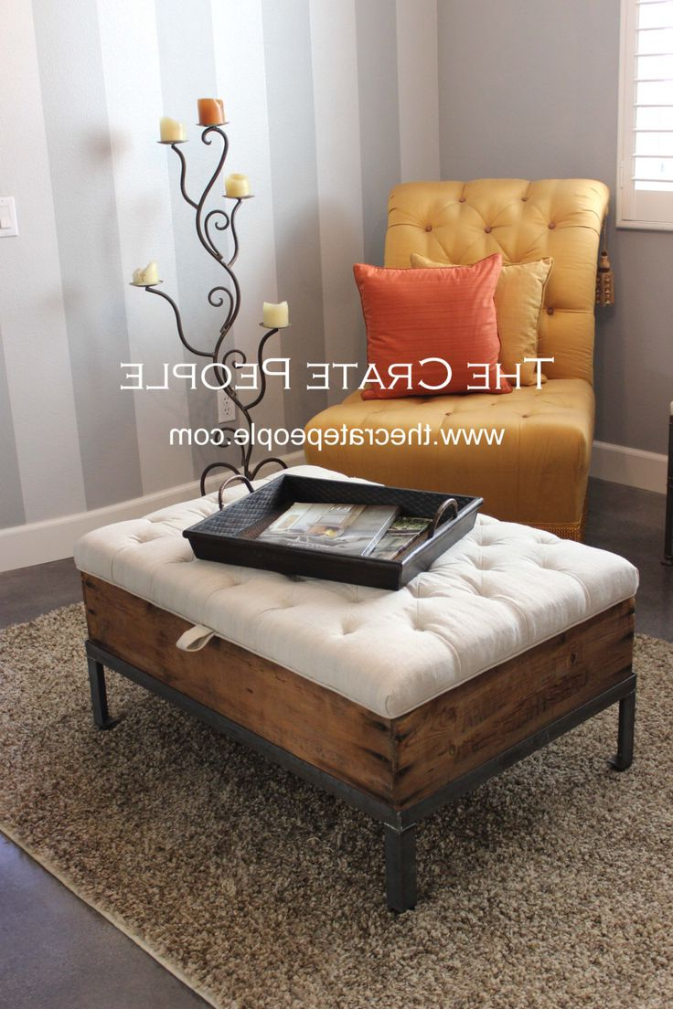 Button Tufted Coffee Tables Intended For Latest Coffee Table: Marvelous Ottoman Coffee Table Storage Fabric Ottoman (View 3 of 20)