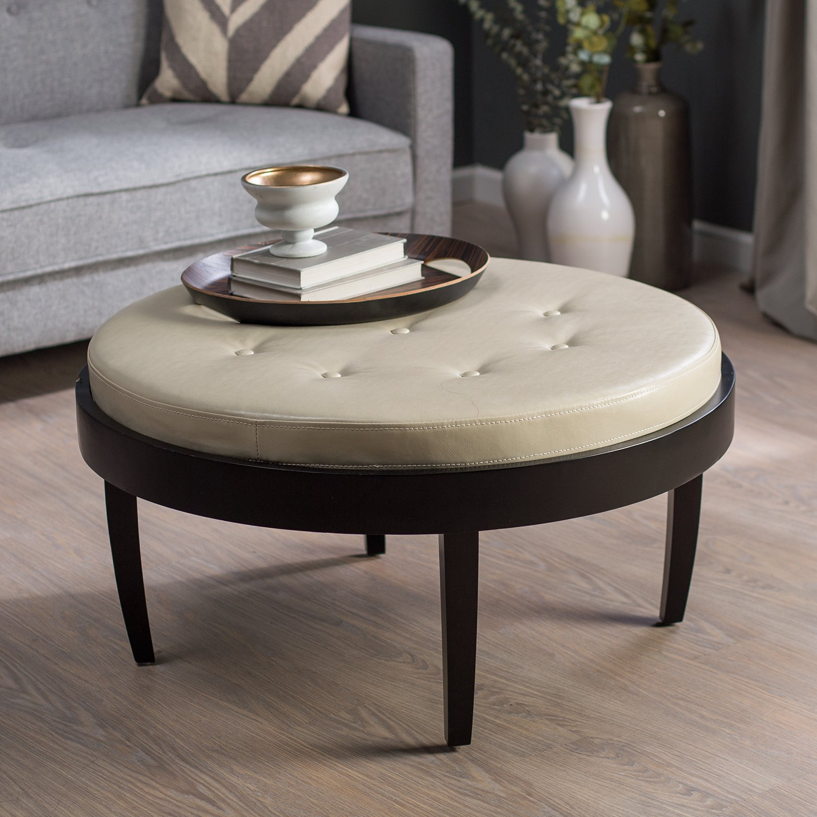 Button Tufted Coffee Tables With Widely Used Citation Espresso Coffee Table Ottoman Cream Cushion – Walmart (Gallery 14 of 20)