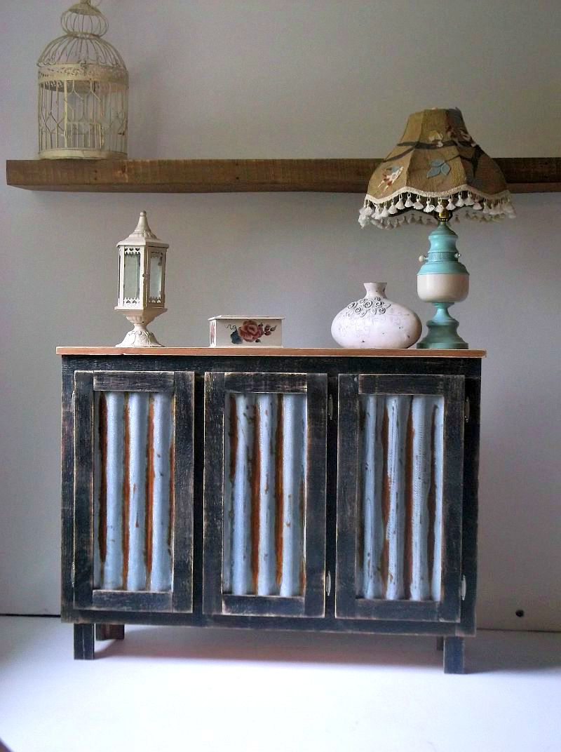 Buy Hand Crafted Rustic Bar Cabinet With Reclaimed Corrugated Metal In Recent Reclaimed Sideboards With Metal Panel (View 2 of 20)