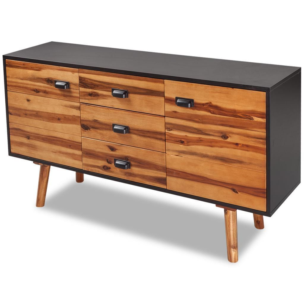 Calhoun Sideboards With Regard To Well Liked Vidaxl Solid Acacia Wood Sideboard Cabinet Console Table W (View 8 of 20)