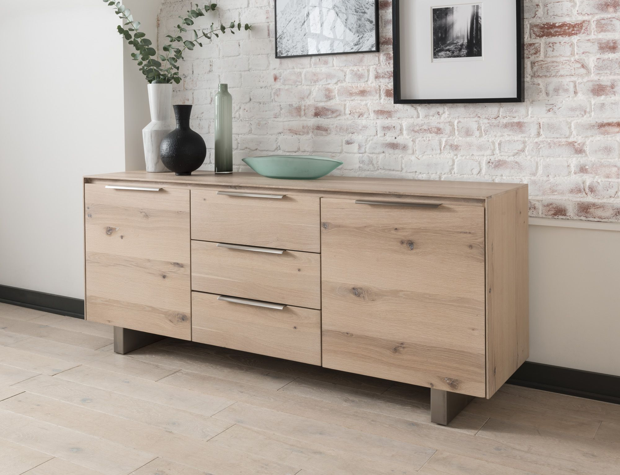 Capua White Washed Oak Sideboard 18Vd175 Throughout Trendy 3 Drawer/2 Door White Wash Sideboards (Gallery 12 of 20)